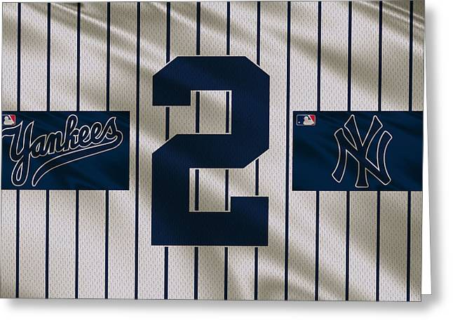 New York Yankees Derek Jeter Greeting Card by Joe Hamilton