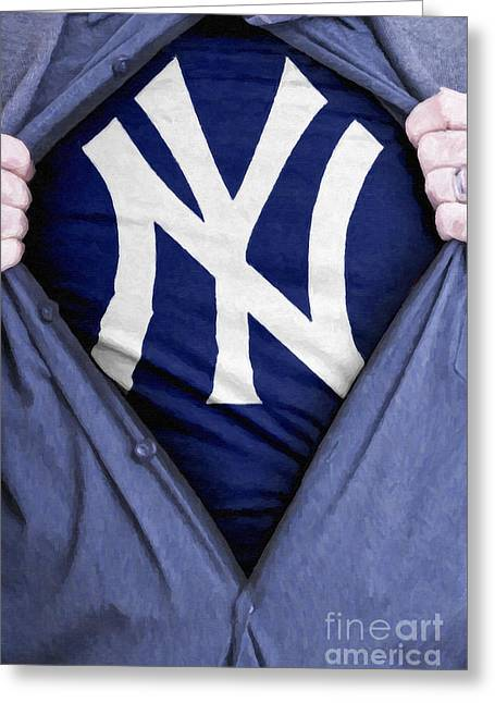 New York Yankees Fan Greeting Card by Antony McAulay