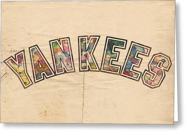 New York Yankees Poster Art Greeting Card by Florian Rodarte