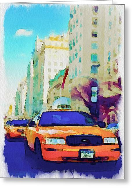 Live Art Greeting Cards - New York Yellow Cabs Greeting Card by Yury Malkov