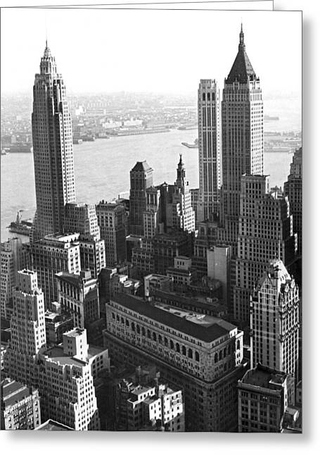 New York's Financial Center Greeting Card by Underwood Archives