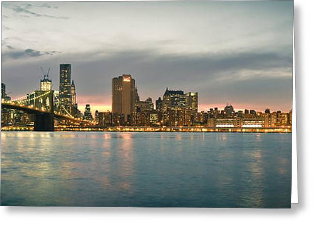Bridge Posters Greeting Cards - New Yotk City - Brooklyn Bridge to Manhattan Bridge Panorama Greeting Card by Thomas Richter
