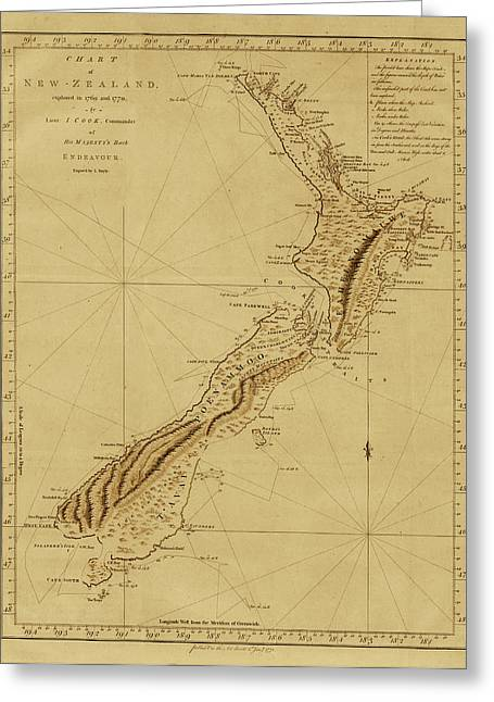 Vintage Map Photographs Greeting Cards - New Zealand 1770 Greeting Card by Andrew Fare