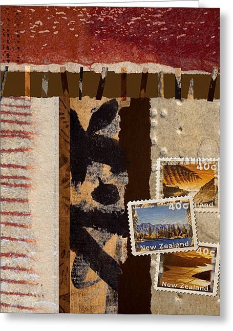 Philately Mixed Media Greeting Cards - New Zealand Greeting Card by Carol Leigh