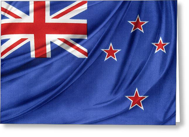 Abstract Waves Photographs Greeting Cards - New Zealand flag Greeting Card by Les Cunliffe