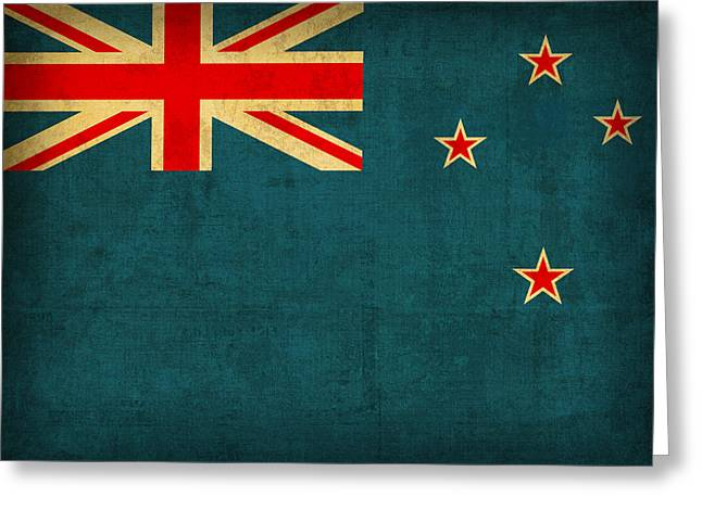 National Symbol Greeting Cards - New Zealand Flag Vintage Distressed Finish Greeting Card by Design Turnpike
