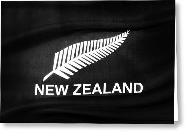 Textile Photographs Greeting Cards - New Zealand silver fern flag Greeting Card by Les Cunliffe