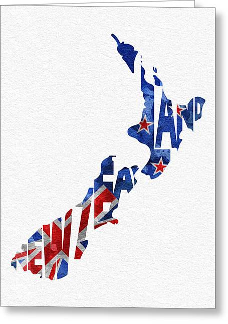 New Ideas Greeting Cards - New Zealand Typographic Map Flag Greeting Card by Ayse Deniz