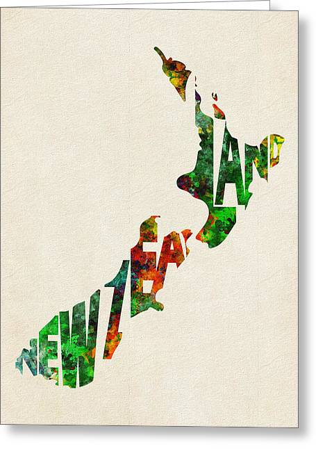 Abstract Map Greeting Cards - New Zealand Typographic Watercolor Map Greeting Card by Ayse Deniz