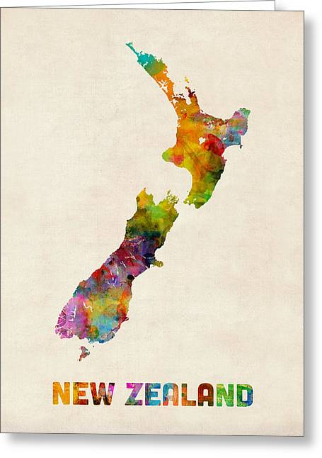 New Zealand Greeting Cards - New Zealand Watercolor Map Greeting Card by Michael Tompsett