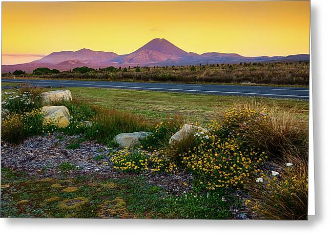 Mountain Road Greeting Cards - New Zealands Tongariro Volcano Greeting Card by Mountain Dreams