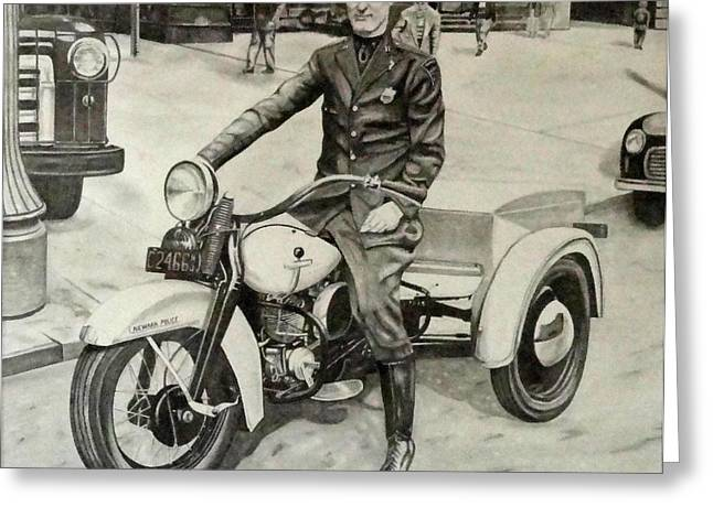 Police Officer Drawings Greeting Cards - Newark Motor Officer Greeting Card by Charles Rogers