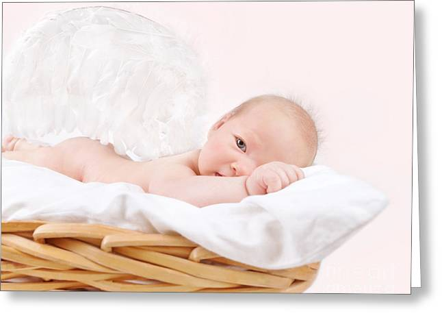 Innocent Angels Greeting Cards - Newborn angel Greeting Card by Anna Omelchenko