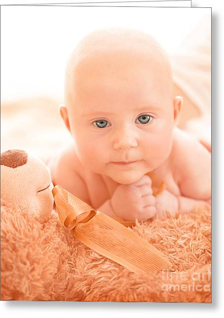 Female Body Greeting Cards - Newborn baby with soft toy Greeting Card by Anna Omelchenko