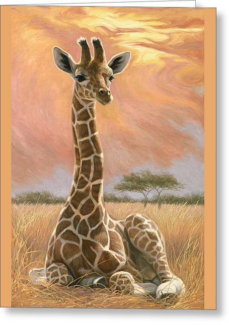 Newborns Greeting Cards - Newborn Giraffe Greeting Card by Lucie Bilodeau