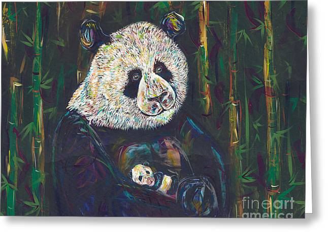 Love The Animal Greeting Cards - Newborn Panda Greeting Card by Lovejoy Creations
