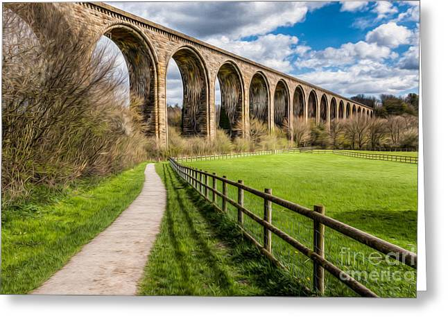 Brassey Greeting Cards - Newbridge Rail Viaduct Greeting Card by Adrian Evans