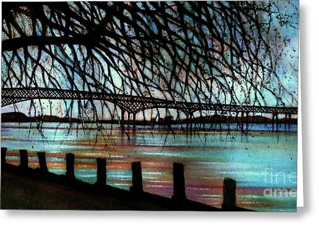Rivers In The Fall Paintings Greeting Cards - Newburgh - Beacon Bridge Night Sky Greeting Card by Janine Riley