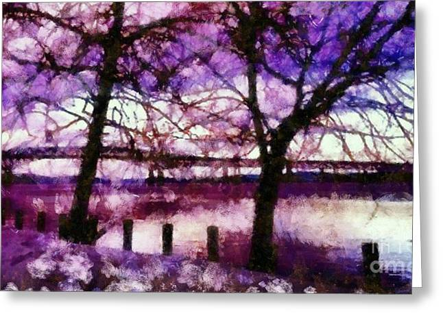 Reflections Of Trees In River Greeting Cards - Newburgh Beacon Bridge Purple skies Greeting Card by Janine Riley
