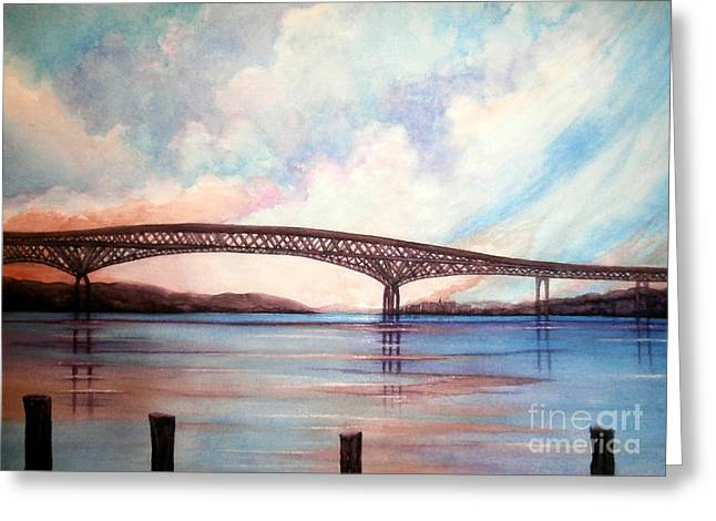 Newburgh Beacon Bridge Sky  Greeting Card by Janine Riley