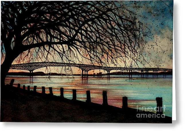 Old And New Paintings Greeting Cards - Newburgh Beacon bridge Sunset Greeting Card by Janine Riley