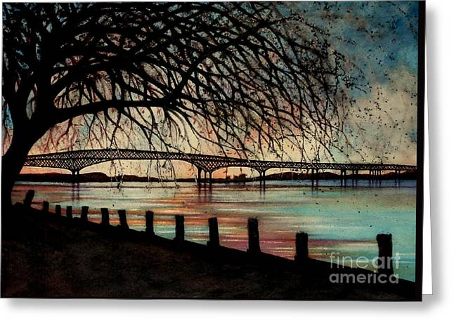 River View Greeting Cards - Newburgh Beacon bridge Sunset Greeting Card by Janine Riley