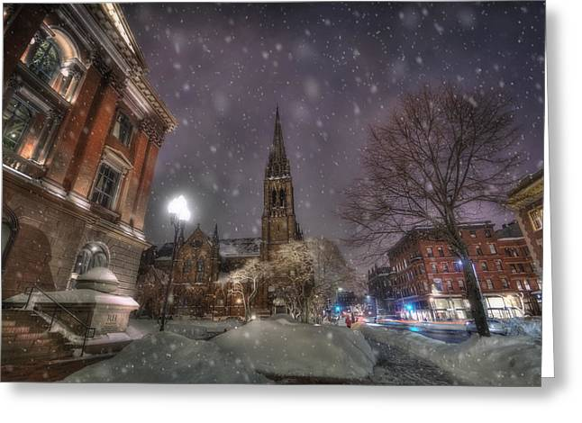 Snow Scene Landscape Greeting Cards - Winter on Newbury Street - Boston Greeting Card by Joann Vitali