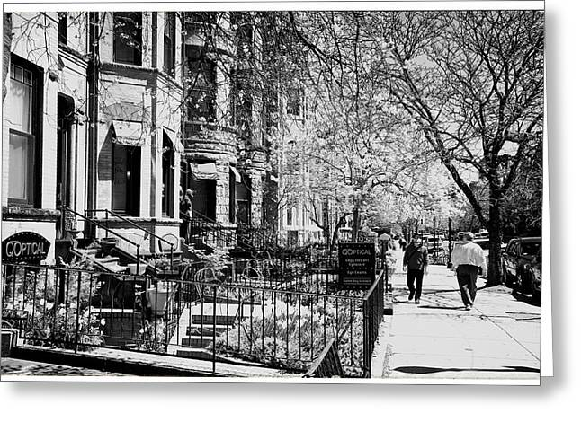 Row Homes Greeting Cards - Newbury Street Greeting Card by Nomad Art And  Design