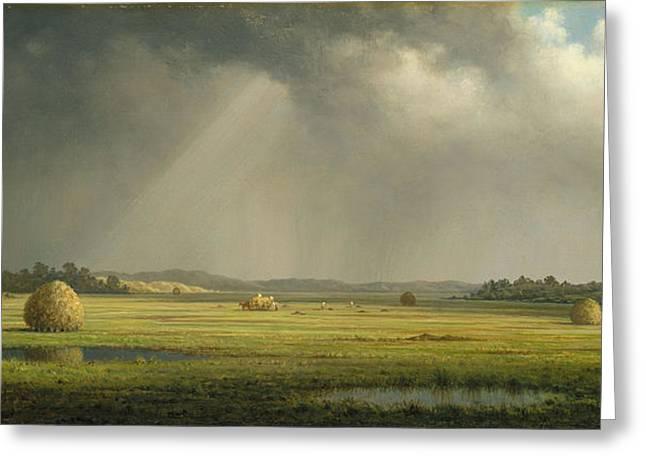 Thunderstorm Digital Art Greeting Cards - Newburyport Meadows Greeting Card by Martin Heade