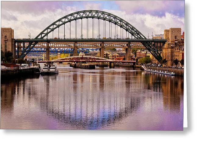 Newcastle Bridges Greeting Card by Trevor Kersley