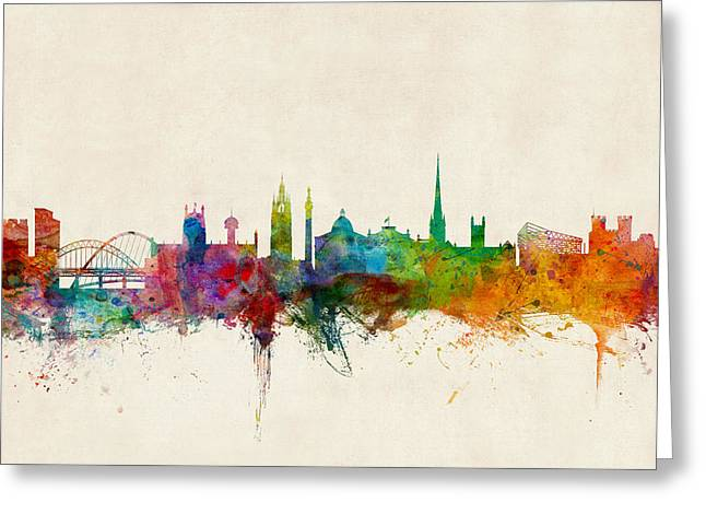Skyline Greeting Cards - Newcastle England Skyline Greeting Card by Michael Tompsett