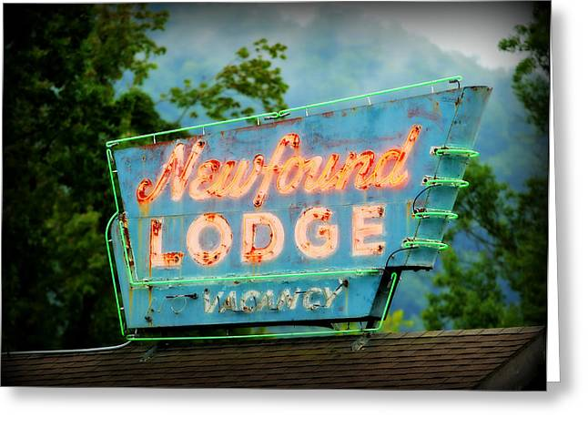 Old Neon Sign Greeting Cards - Newfound Lodge Neon Greeting Card by Stephen Stookey