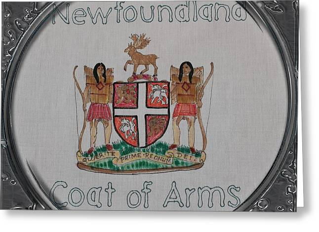 Sheild Greeting Cards - Newfoundland Coat of Arms - Porthole Vignette Greeting Card by Barbara Griffin