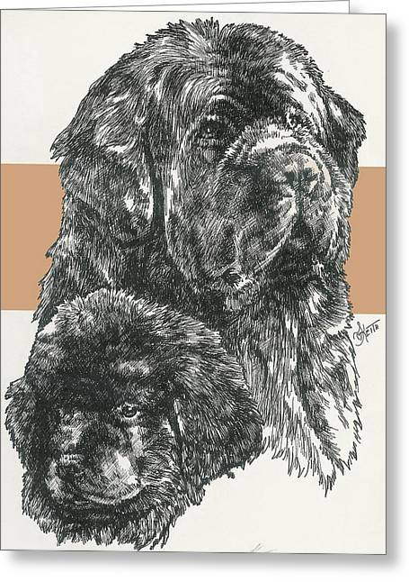 Working Dog Drawings Greeting Cards - Newfoundland Father and Son Greeting Card by Barbara Keith
