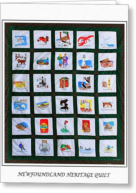 Fresh Tapestries - Textiles Greeting Cards - Newfoundland Heritage Quilt Greeting Card by Barbara Griffin