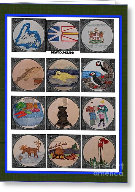 Heritage Quilts Greeting Cards - Newfoundland Heritage Quilt with Porthole Scenes Greeting Card by Barbara Griffin