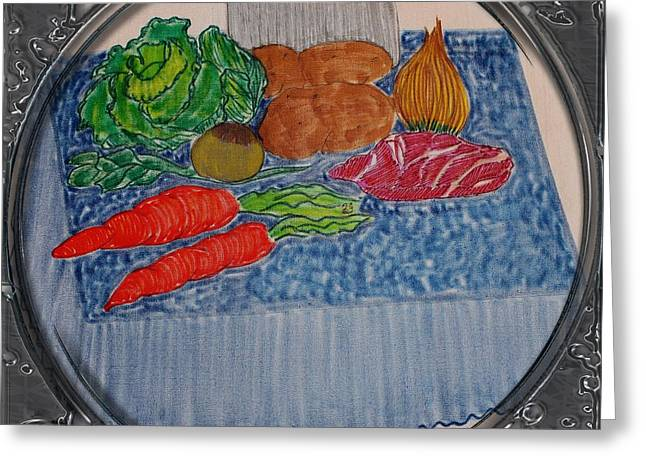 Cook Drawings Drawings Greeting Cards - Newfoundland Jiggs Dinner - Porthole Vignette Greeting Card by Barbara Griffin
