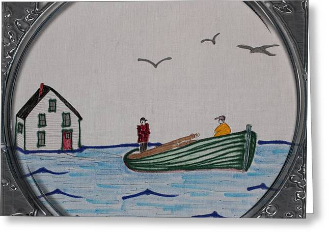 Boats On Water Drawings Greeting Cards - Newfoundland Resettlement - Porthole Vignette Greeting Card by Barbara Griffin