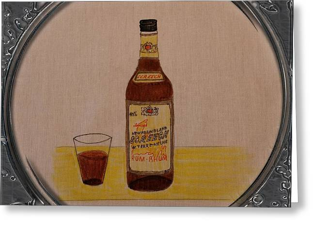 Glass Bottle Drawings Greeting Cards - Newfoundland Screech Rum - Porthole Vignette Greeting Card by Barbara Griffin
