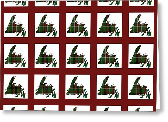 Tartan Quilts Greeting Cards - Newfoundland Tartan Map Blocks Red Trim Greeting Card by Barbara Griffin