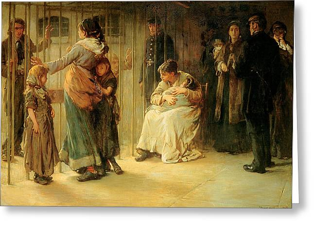 Jail Paintings Greeting Cards - Newgate Committed For Trial, 1878 Greeting Card by Frank Holl