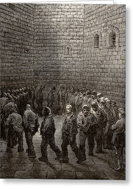 White Drawings Greeting Cards - Newgate Prison Exercise Yard Greeting Card by Gustave Dore