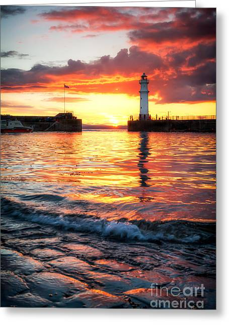 East Coast Greeting Cards - Newhaven Harbour Greeting Card by John Farnan