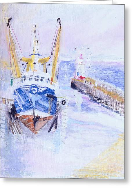 Fishing Boats Greeting Cards - Newlyn, Cornwall, 2005 Oil Pastel & Acrylic On Board Greeting Card by Sophia Elliot