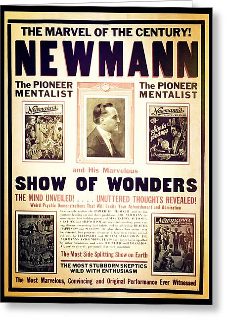 Magic Show Greeting Cards - Newmann and His Show of Wonders  Greeting Card by The  Vault - Jennifer Rondinelli Reilly