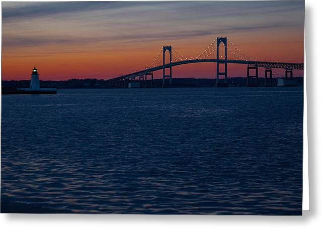Foliage Photographs Greeting Cards - Newport at sunset Greeting Card by Robert  Torkomian
