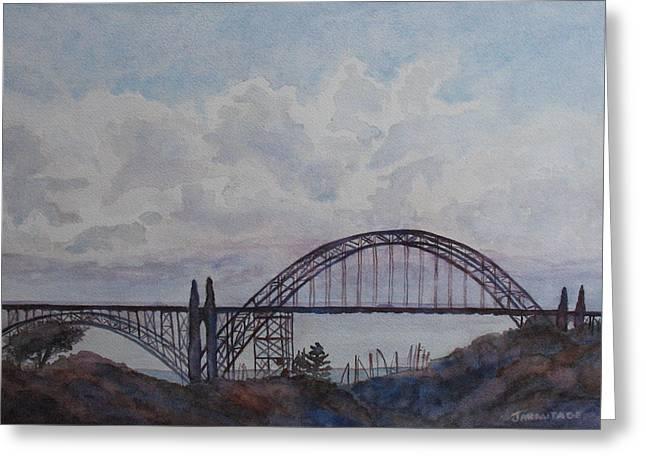 Yaquina Bay Bridge Greeting Cards - Newport Bay Bridge I Greeting Card by Jenny Armitage