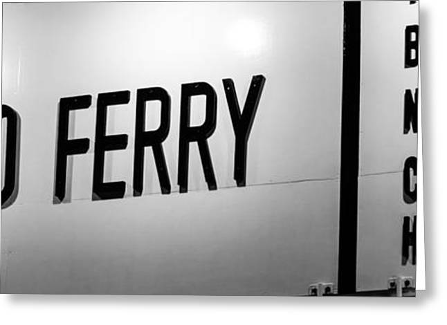 California Beach Art Greeting Cards - Newport Beach Balboa Ferry Sign Photo Greeting Card by Paul Velgos