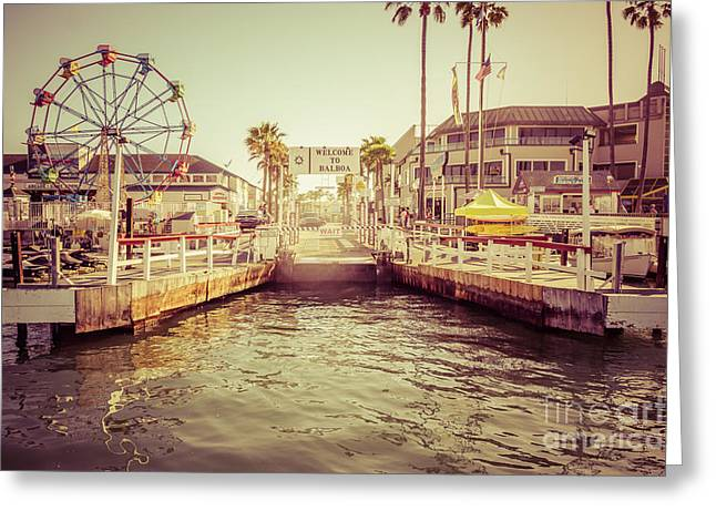 Sign Photographs Greeting Cards - Newport Beach Balboa Island Ferry Dock Photo Greeting Card by Paul Velgos