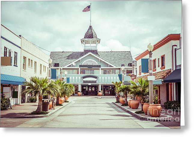 Main Street Greeting Cards - Newport Beach Balboa Main Street Vintage Picture Greeting Card by Paul Velgos